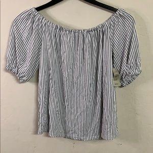 Loft off shoulder white striped top